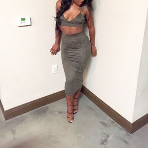 Olive suede two piece